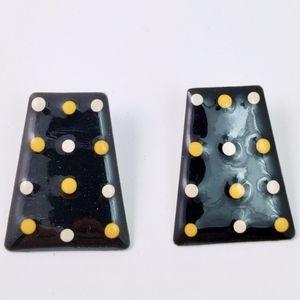 Polka Dot Trapezoid Geometric 80's Vintage Earring